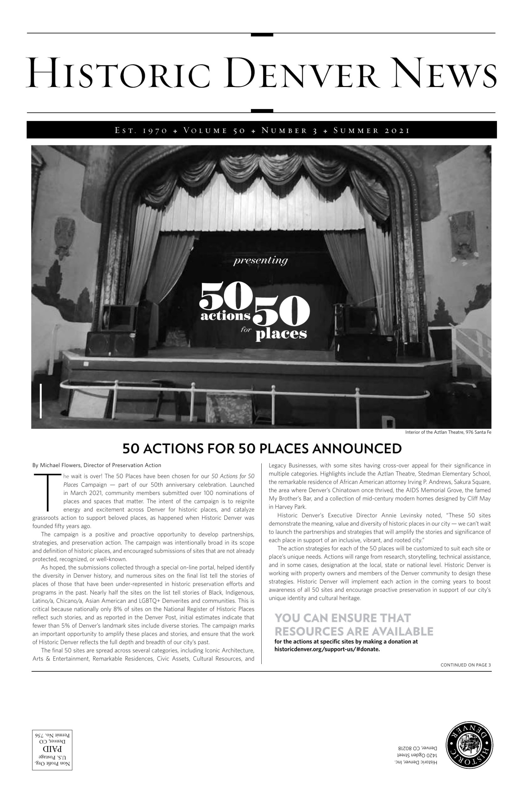 Summer issue 2021: 50 Actions for 50 Places announced
